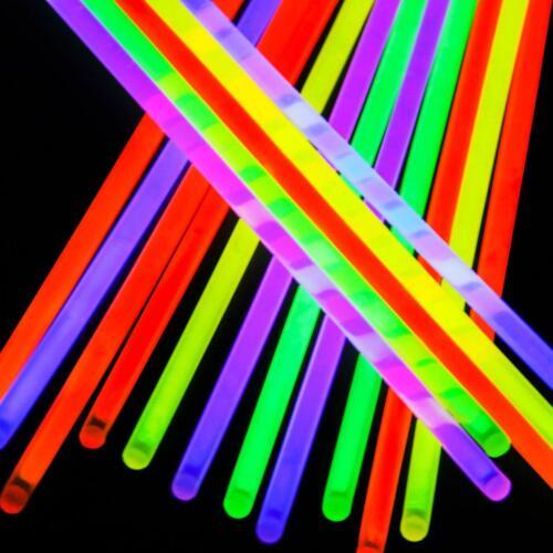 """Party bag Favors 8/"""" Glow Sticks Neon 6 Colours Necklace Bracelet Bangle"""