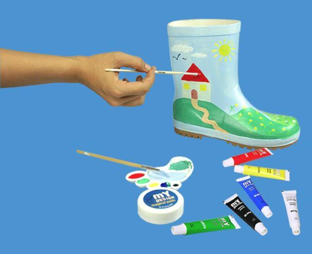 My Desgin Paintable Rain Boots plain white paint kit plus Boot /& eraser Draw NEW