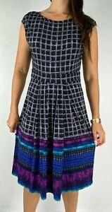 LEONA EDMISTON Multicolored Check Cap Sleeve Stretch Midi Dress Size AU 12 Work