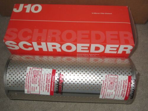 New Schroeder J10  10 Micron Hydraulic Filter Element  9 long 3-1/2 Dia.