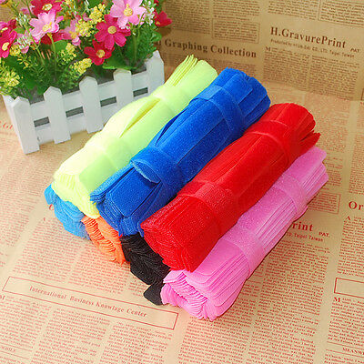 7-100 Pcs Colorful Velcro Cable Cord Tie Strap Wire Rope Organiser Holder