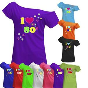 Women-I-Love-The-80-039-s-T-Shirt-Retro-Pop-Star-Ladies-Hen-Fancy-Party-Top-Outfit
