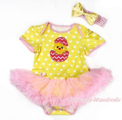 Easter Egg Chick Girl White Bodysuit Rainbow Clover Pettiskirt Baby Dress NB-18M
