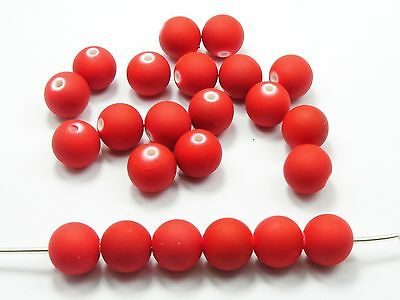 """100 Matte Neon Red Color Acrylic Round Beads 10mm(3/8"""") Rubber Tone"""