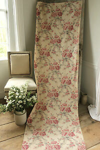 Image Is Loading Vintage French Printed Linen Fabric Material Upholstery Weight