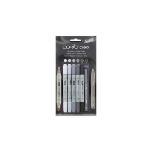 Warm Gray Tones Copic Ciao 5+1 Marker Set Pack of 5 + Multiliner