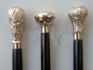 Travailleur Lot Of 3 Vintage Designer Cane Brass Handles Antique Victorian Cane Woodenstick