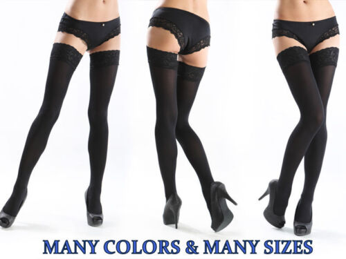 Lace Top 40 60 100 DEN Hold-Ups Stockings Sizes M-XXXXL plus size many colours