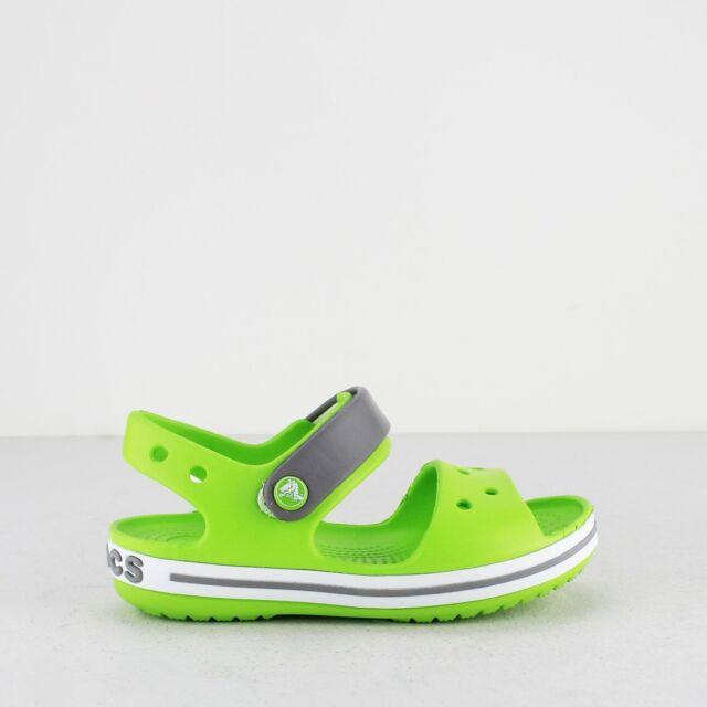 032b9e185 Crocs CROCBAND SANDAL KIDS Boys Girls Touch Fasten Croslite Sandals  Green Smoke