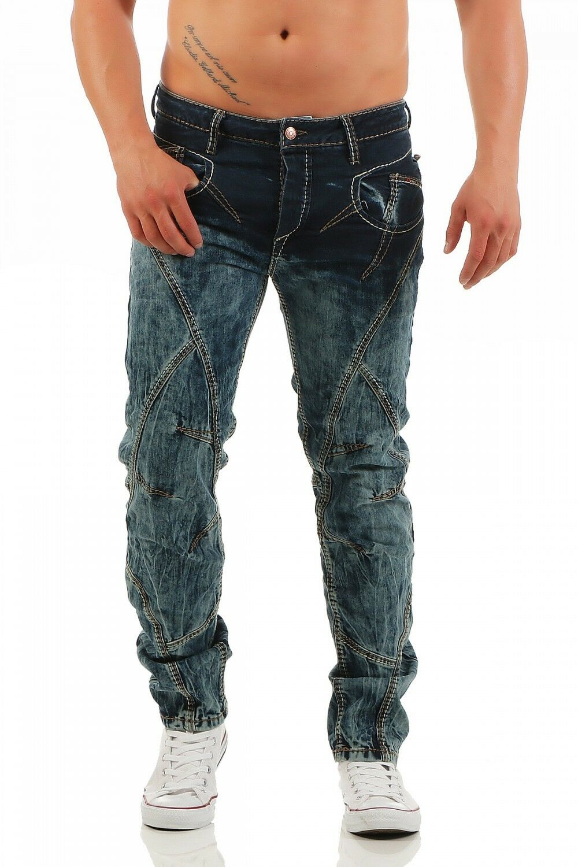 Cipo & Baxx-cd-289 - Regular Fit-Spessore Cuciture-Blu Uomo Pantaloni Jeans