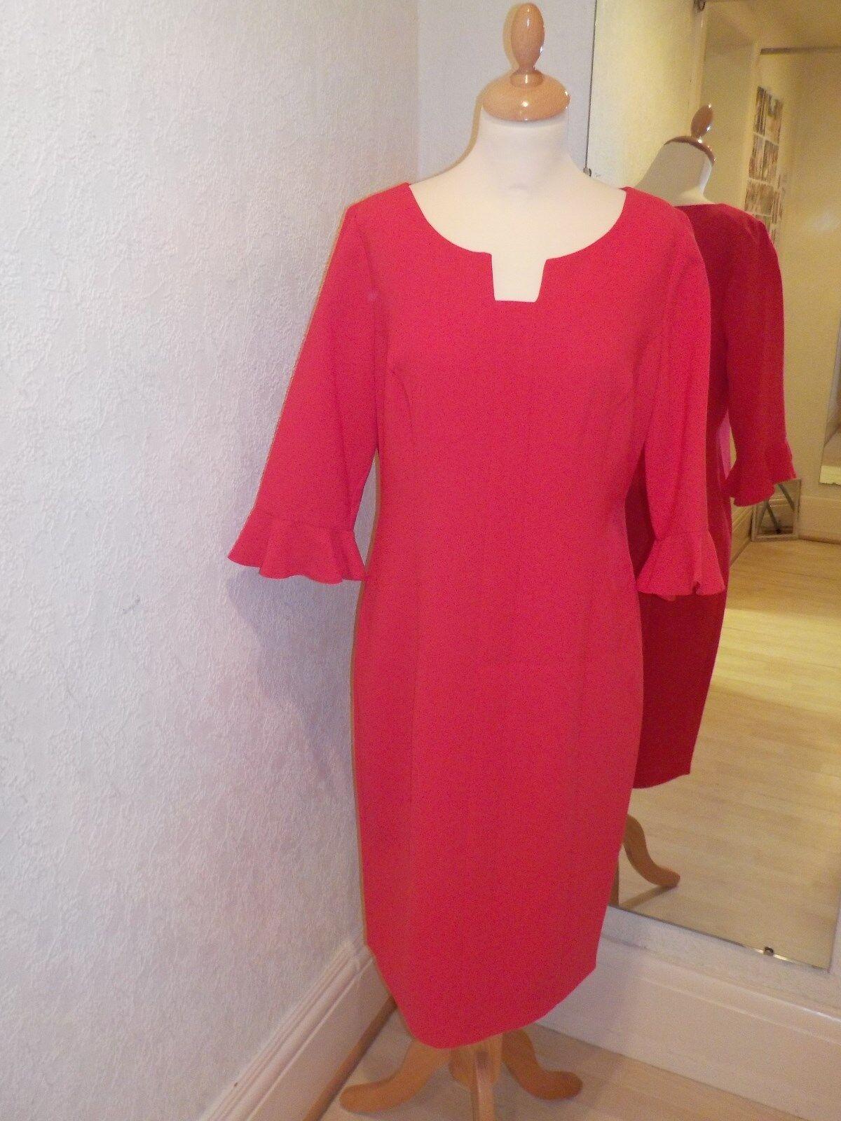 Lizabella rot Frill Cuff Sleeves Dress 2513