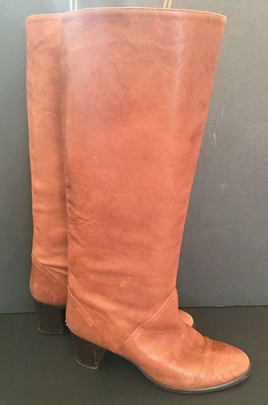 9M J.Crew Sutton Tall Leather Midheel Boots Rough Condition Item 28672