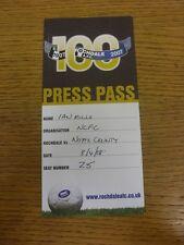 08/04/2008 Ticket: Rochdale v Notts County [Press Pass] . Bobfrankandelvis the s