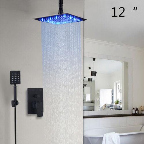 "8/""12/""16/""LED Shower Head Bathroom Shower Faucet Black Mixer 2-Functions Rain Tap"