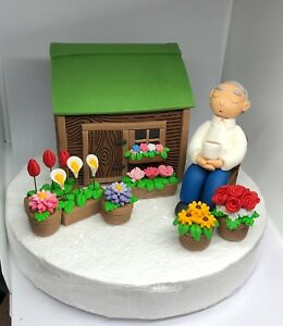 Awesome Edible Cake Toppers Man Dad Gardener Sitting In Flowers Garden Funny Birthday Cards Online Overcheapnameinfo