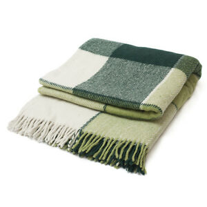 Throw-Plaid-Blanket-Soft-Warm-Wool-Green-Different-Sizes-US-Free-Shipping