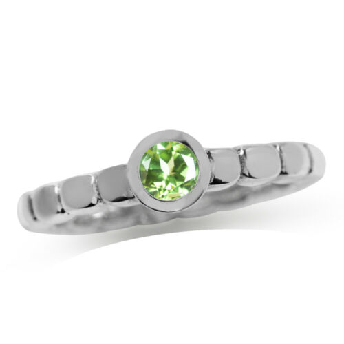 Natural Peridot 925 Sterling Silver Stack//Stackable Solitaire Ring SZ 6.5