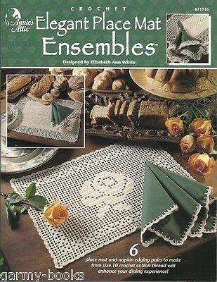 Elegant Place Mat Ensembles Crochet Patterns Filet Picot Pineapples