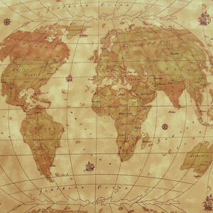 Details about RARE VINYL WORLD MAP KNIT BACK MARINE OUTDOOR UPHOLSTERY  LUGGAGE FABRIC WP 54\