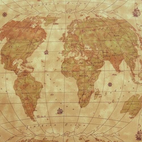 "RARE VINYL WORLD MAP KNIT BACK MARINE OUTDOOR UPHOLSTERY LUGGAGE FABRIC WP 54/""W"
