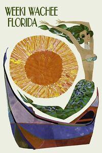 Image Is Loading Weeki Wachee Florida Mermaid Vintage Travel Poster Reproduction
