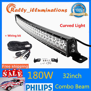 Curved-32inch-180W-LED-Work-Light-Bar-Combo-Offroad-Car-Driving-Lamp-Slim-Wiring