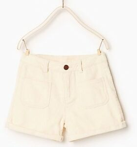 ZARA-Girls-Ecru-Bermuda-Shorts-Corduroy-size-11-12-years-152cm-Brand-New