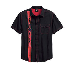 Harley-Davidson-Men-039-s-Vertical-Stripe-Short-Sleeve-Woven-Shirt-96178-18VM