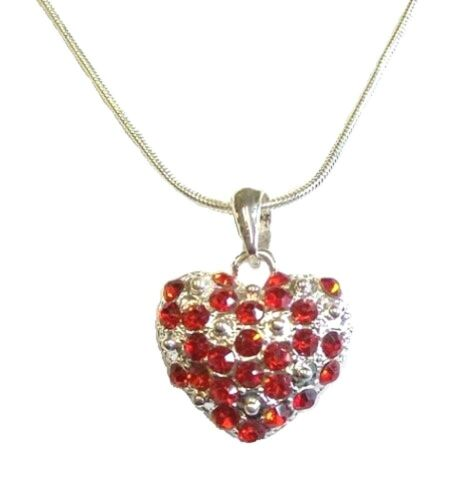Red Silver Crystal Diamante Love Heart Necklace Pendant Women Ladies Party Dress