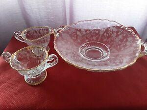 Vintage-Cambridge-Glass-Gold-Trim-Candy-Bowl-Creamer-and-Sugar-Bowl-Set-of-3
