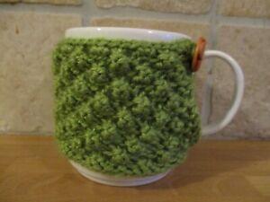 twotone green Aran Hand Knitted Mug Cosy