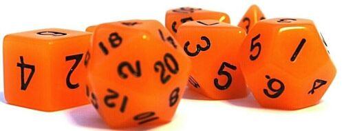 RPG Würfel Set 7-teilig  Poly DnD Rollenspiel orange glow dice4friends w4-w20