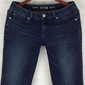 APT-9-Modern-Boyfriend-Womens-Size-6-Blue-Dark-Wash-Mid-Rise-Cropped-Denim-Jeans