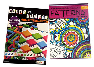 Color By Number Patterns Book Set Kids Adults Activity Advanced Coloring Books Ebay