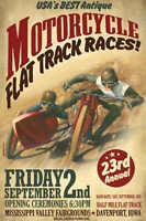 Vintage Dirt Flat Track Sidecar Motorcycle Racing Poster Print 54x36 Big