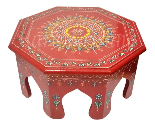 Admirable Indian Round Low Wooden Stool Bajot Chowki Painted Design Side Table Red 12 Gmtry Best Dining Table And Chair Ideas Images Gmtryco