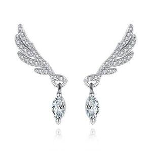 Angel-Wing-Crystal-Drop-Stud-Earrings-925-Sterling-Silver-Womens-Jewellery-Gift