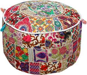 Phenomenal Details About White 22 Embroidered Round Ottoman Pouf Stool Chair Pouffe Seat Indian Decor Frankydiablos Diy Chair Ideas Frankydiabloscom