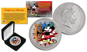 2017 NZM Nieu 1 oz SILVER BU Mickey Mouse Disney Steamboat AMERICANA LTD of 500