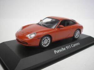 PORSCHE-911-CARRERA-2001-ORANGE-ROUGE-METALLIQUE-1-43-MAXICHAMPS-940061021-NEUF