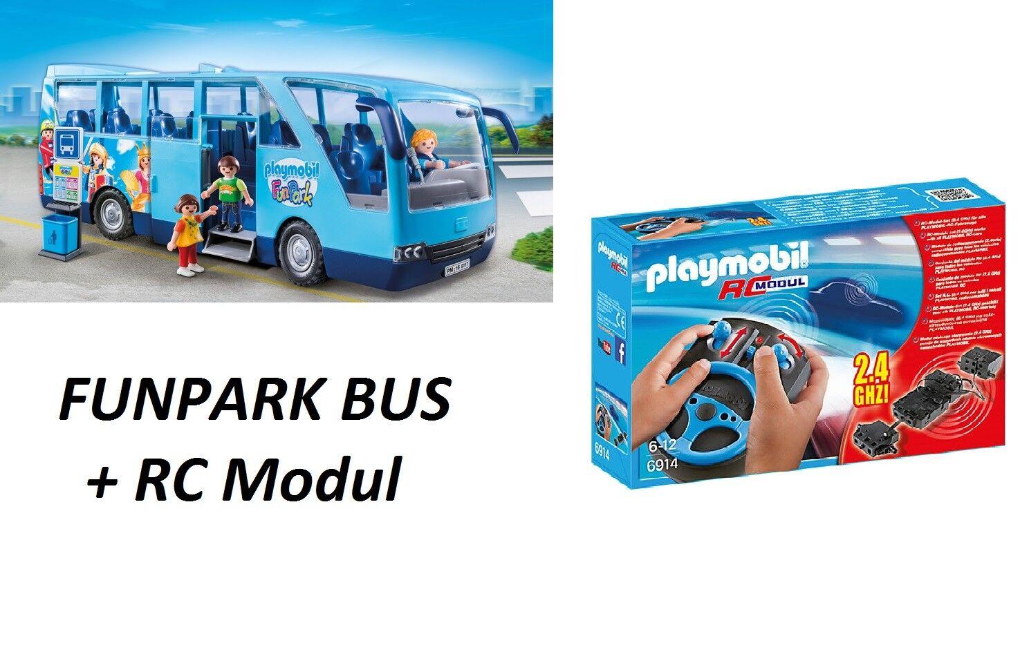 PLAYMOBIL 9117 City Life Bus Divertente PARCO EDIZIONE SPECIALE SCUOLA AUTO +6914 Modulo RC