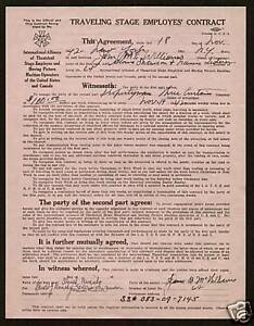 Gloria Swanson signed auto 1942 IATSE Stage Contract