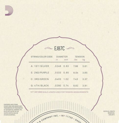 3 sets D/'Addario EJ87C Titanium Ukulele Strings Concert