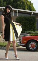 / Rare Vintage Rockabilly Pin Up Ec Star Elizabeth Bee Dress - Size S