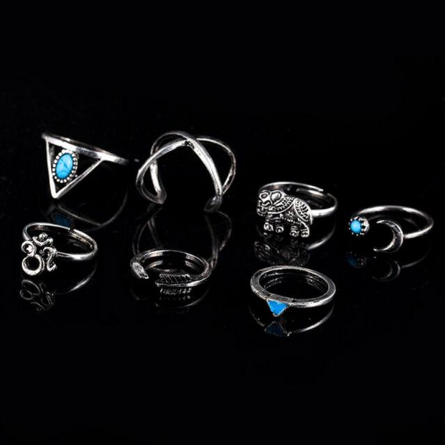 Fashion 7Pcs/Set Boho Knuckle Rings Turquoise Arrow Cross Elephant Midi Rings