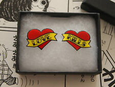 Love Kills Heart Tattoo Earrings - Rockabilly Vintage Studs Psychobilly Pin Up