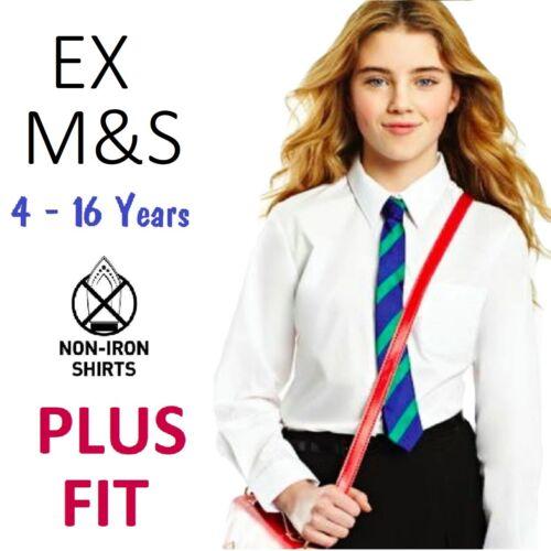 Ex M/&S Girls School Blouse Shirt Plus Fit White Long Sleeve Generous Age 4-16