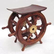 "Ships Wheel Teak End Table 15"" Wooden Nautical Maritime Decor Furniture"