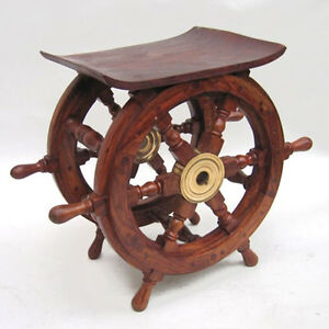 image is loading nautical ships wheel teak wood 15 034 end nautical furniture decor