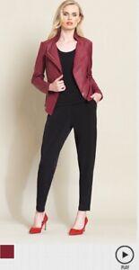 Jacket Nwt Liquid Sigature Woo Sun Merlot Stretch Leather Clara Knit Small Zip xS8zq